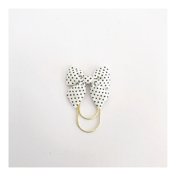 Mini Fabric Bow Clip | Amber Black Dot