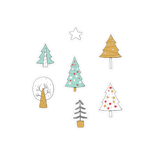 printable cut file | doodle Christmas trees