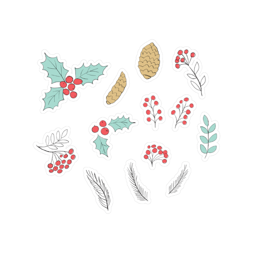 printable cut file | doodle holly & pine