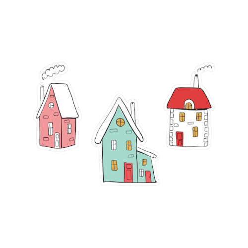 printable cut file | doodle houses