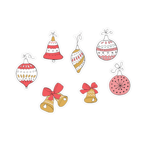 printable cut file | doodle ornaments