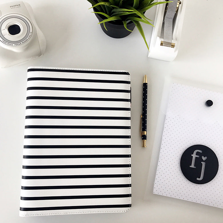 Note to Self Binder | Black & White Stripe