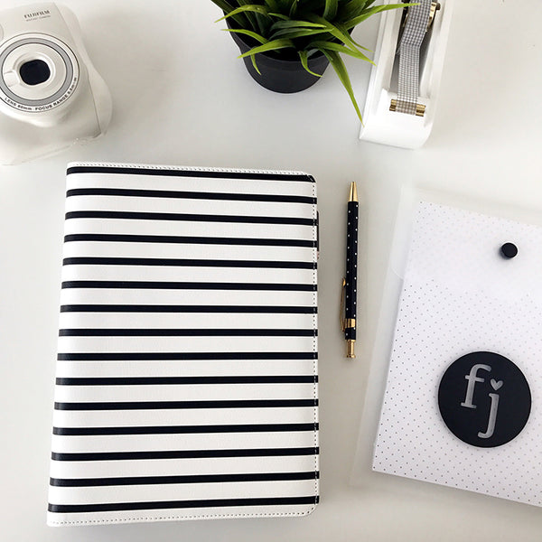 SLIGHTLY IMPERFECT - Note to Self Binder | Black & White Stripe