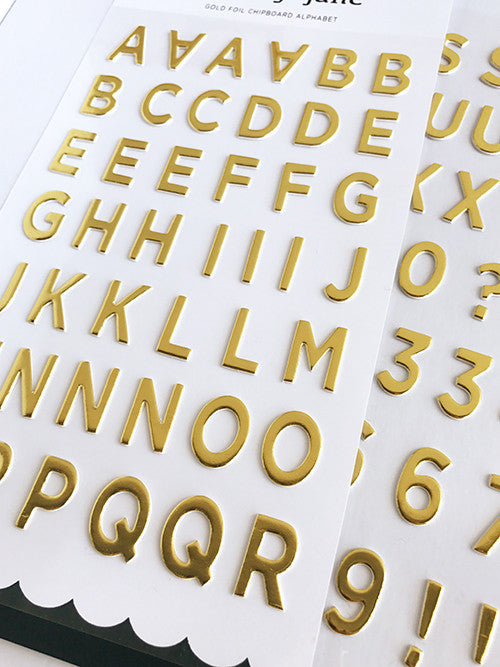 Gold Foil Chipboard Alphabet