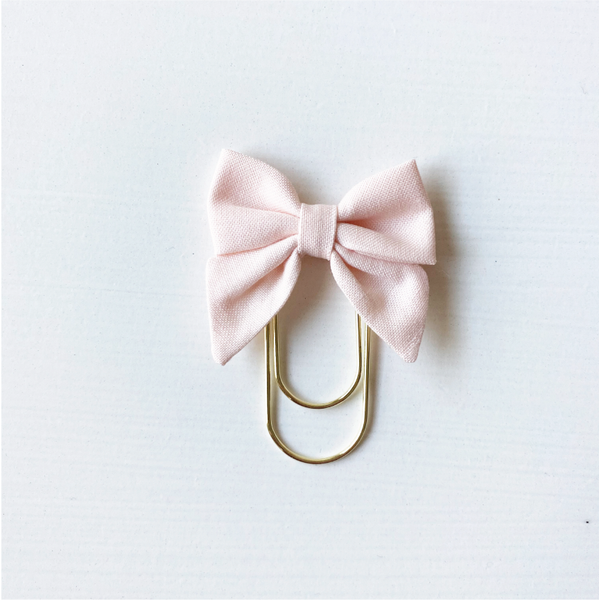 Mini Fabric Bow Clip - Blush