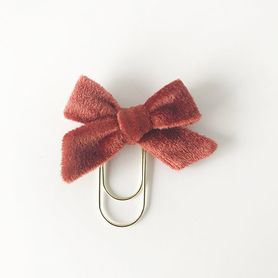 Mini Fabric Bow Clip | Rust Velvet