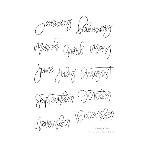 Scripty Months | Stamp Set