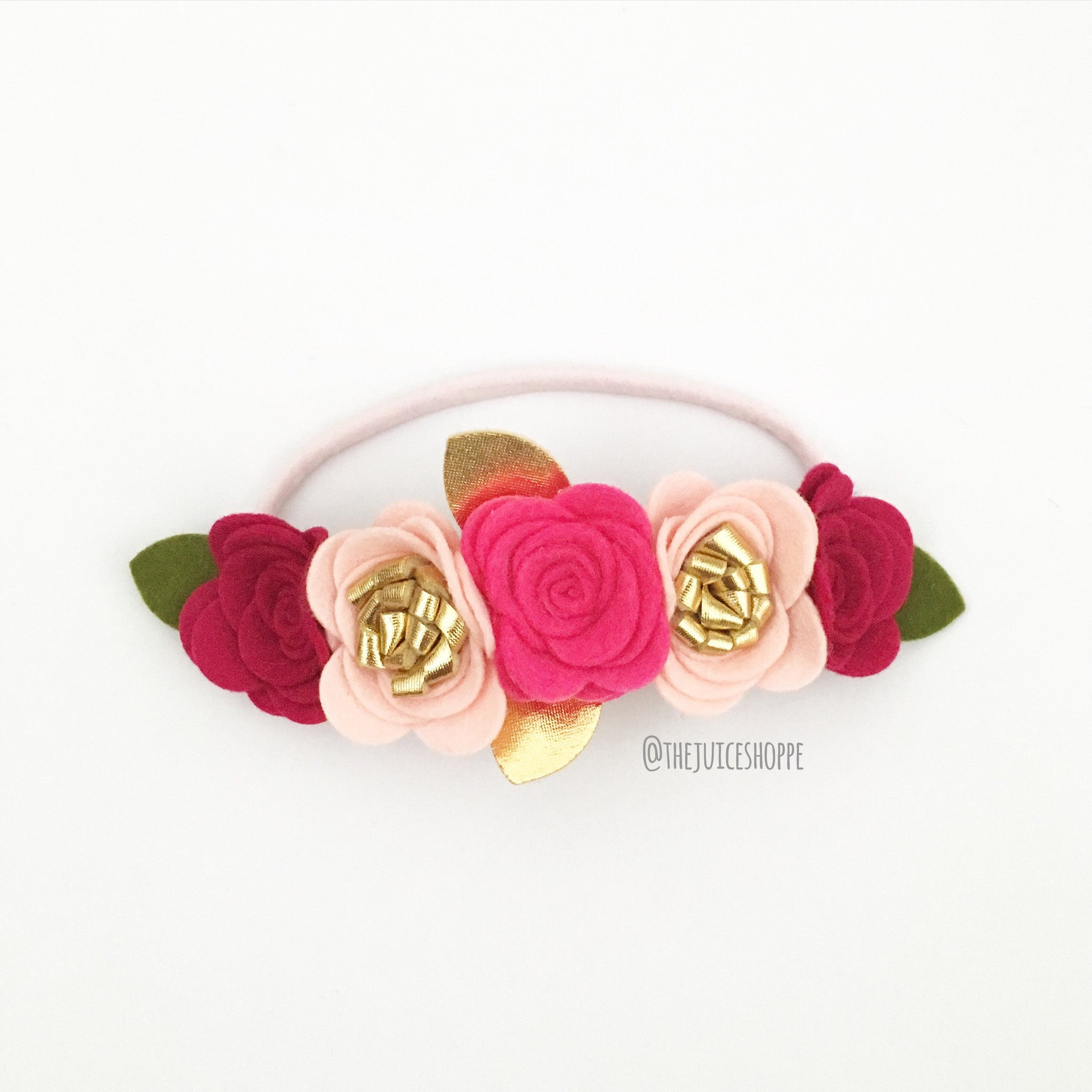 valentine's oversized flower crown - cluster style pinks/gold