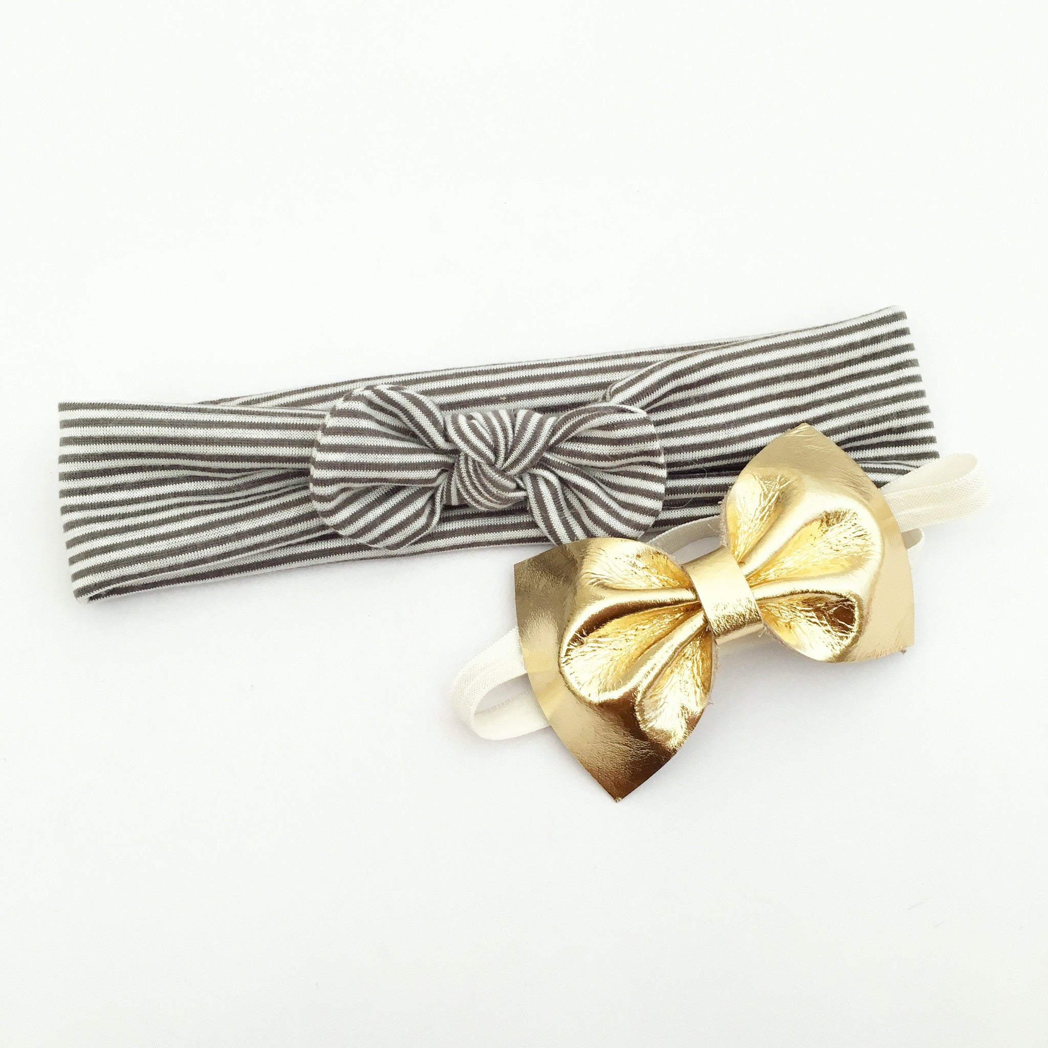 jersey knot headband - grey stripes