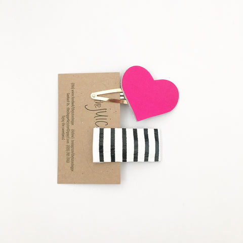 leather snap clip set - neon stripes