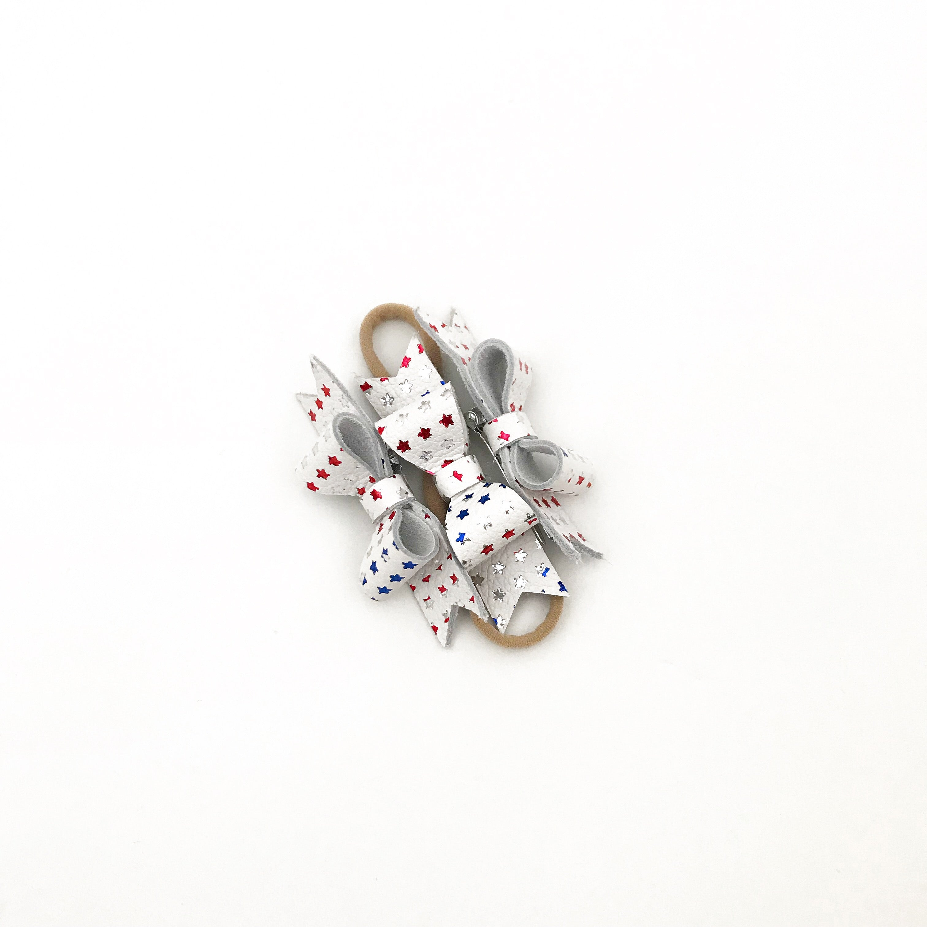 stars and stripes - leather stars (clip or headband)