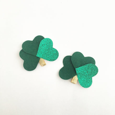 st. patty's day shamrock bow (headband or clip)