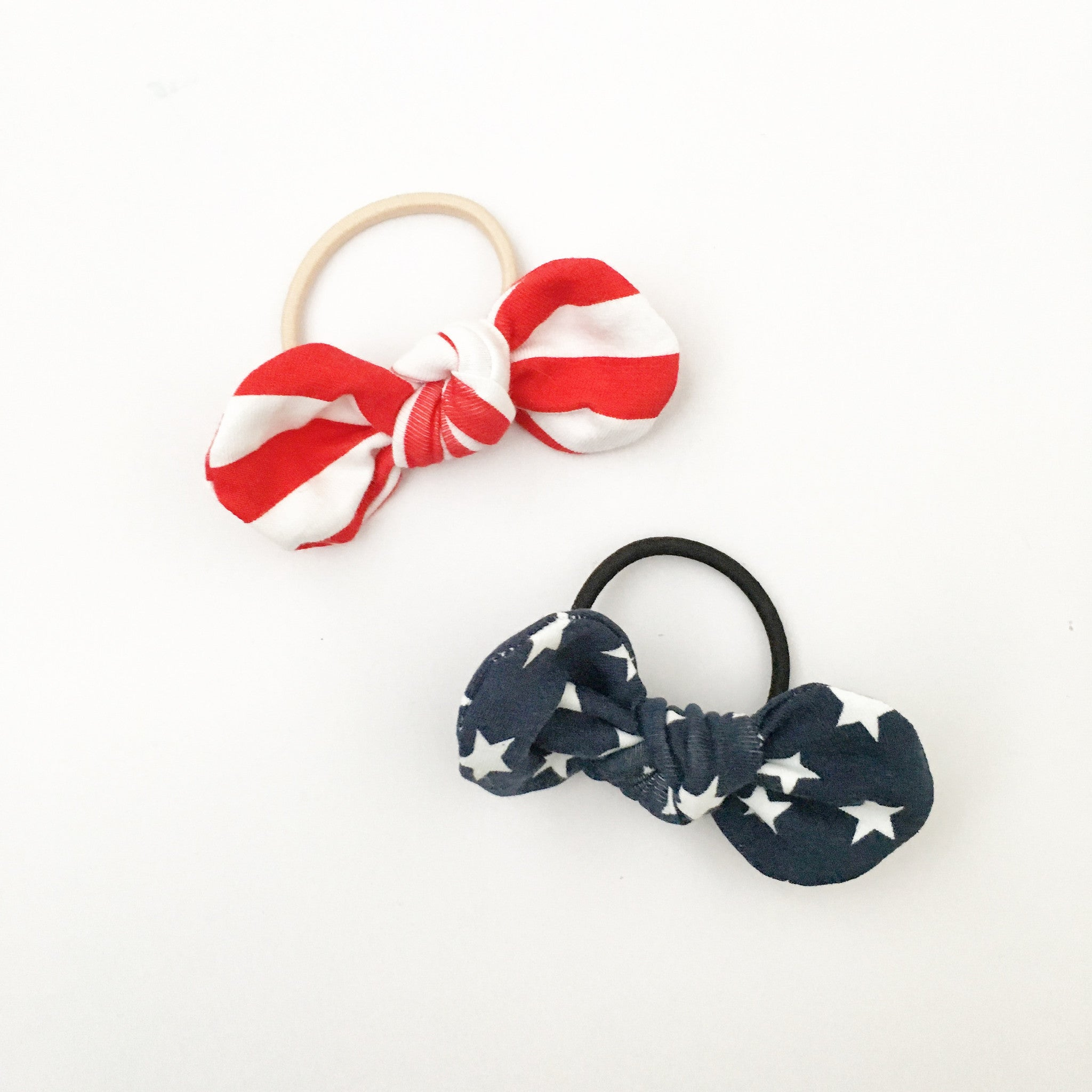 stars and stripes - knotted hair ties