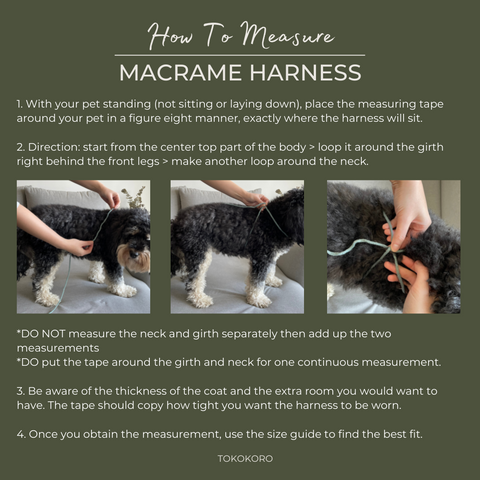 instruction how to measure macrame harness