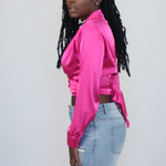 Fuchsia Wrap-Around Satin Blouse
