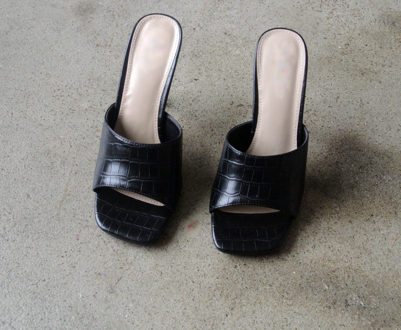 City Croc Heeled Mules - Black
