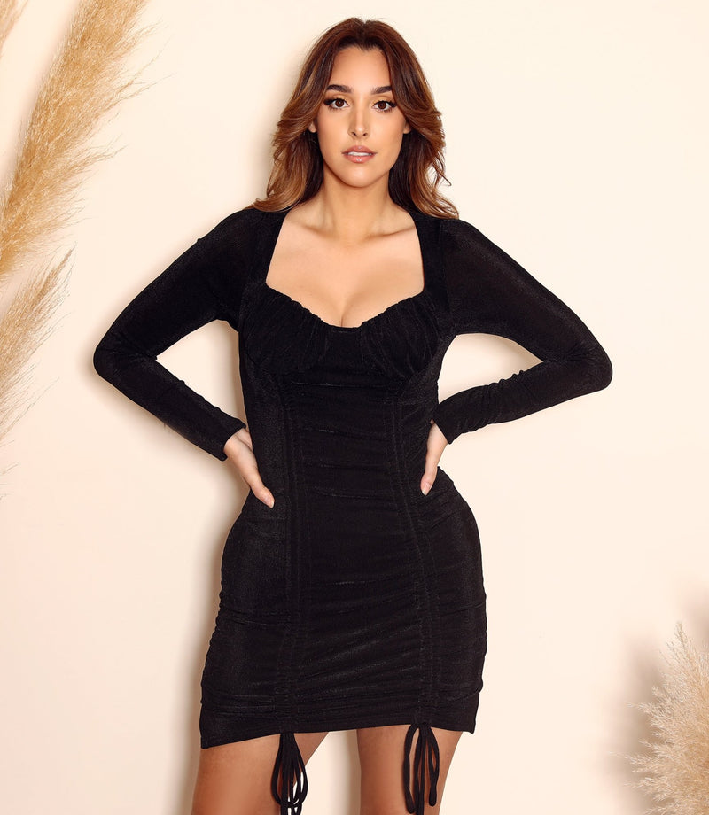 Ruched Long Sleeve mini Dress