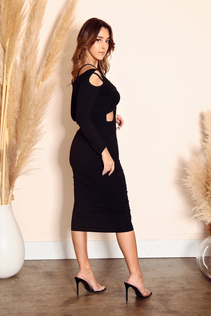 Sexy Bodycon Cut-out Midi Dress