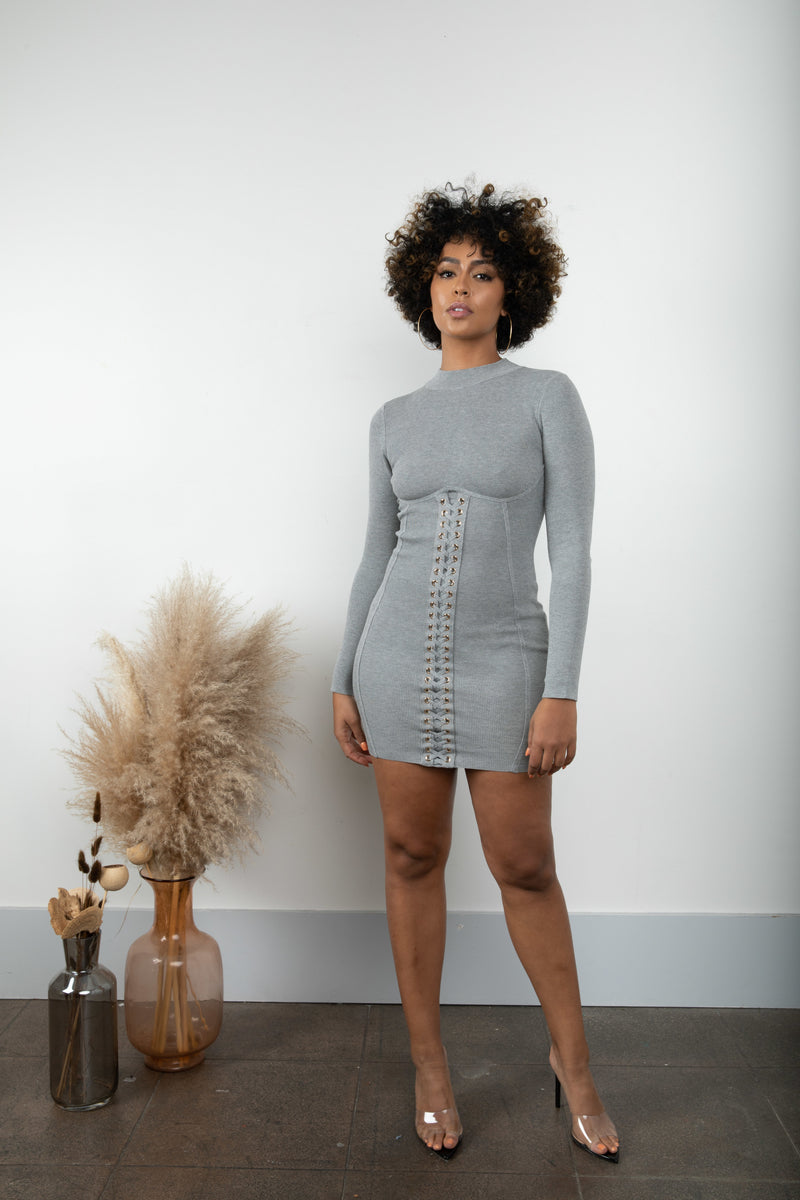 Lace Me Up Dress- Heather Gray