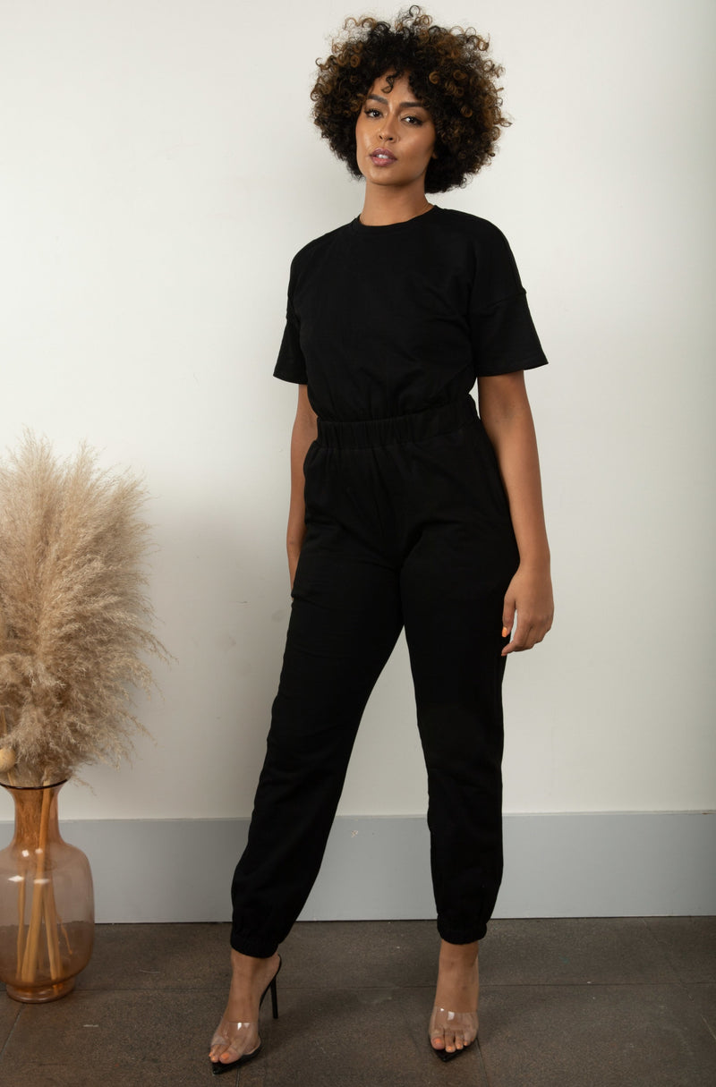 Keep On Moving Jumpsuit- Black
