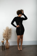 Lace Me Up Dress- Black