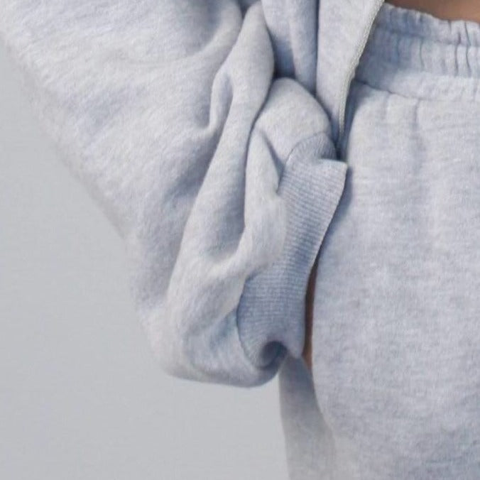 Gray Oversized Zip Up Hoodie Set