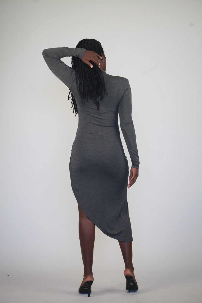 Ruched Long-sleeve High-Slit Dress