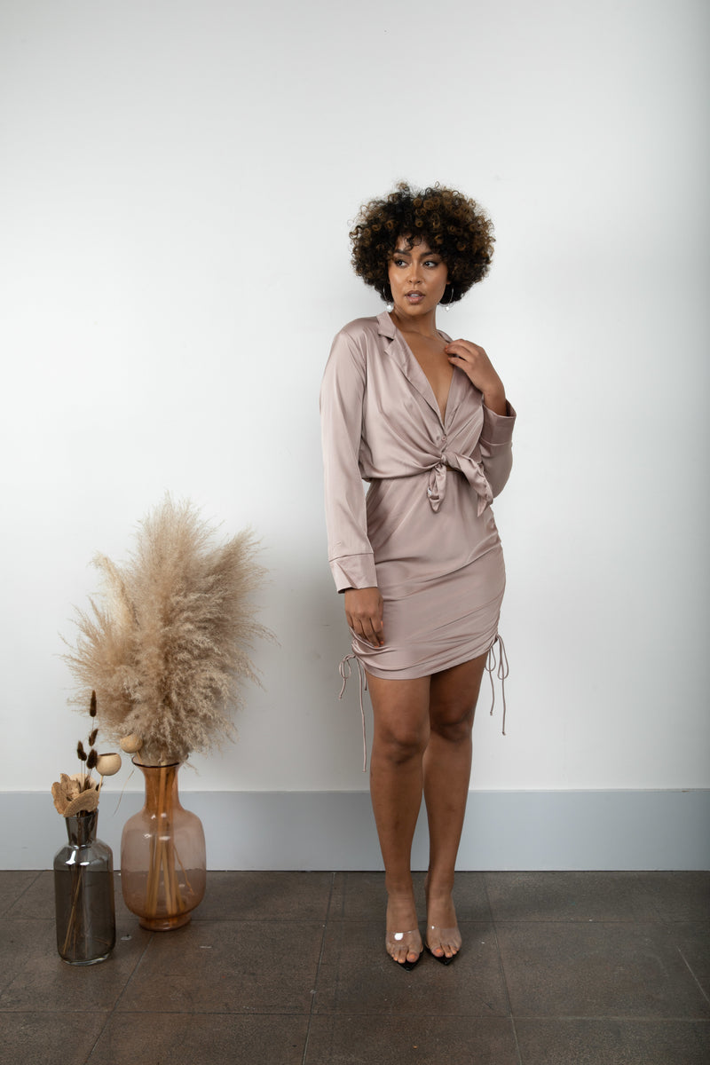 Mocha Long Sleeve Satin Set