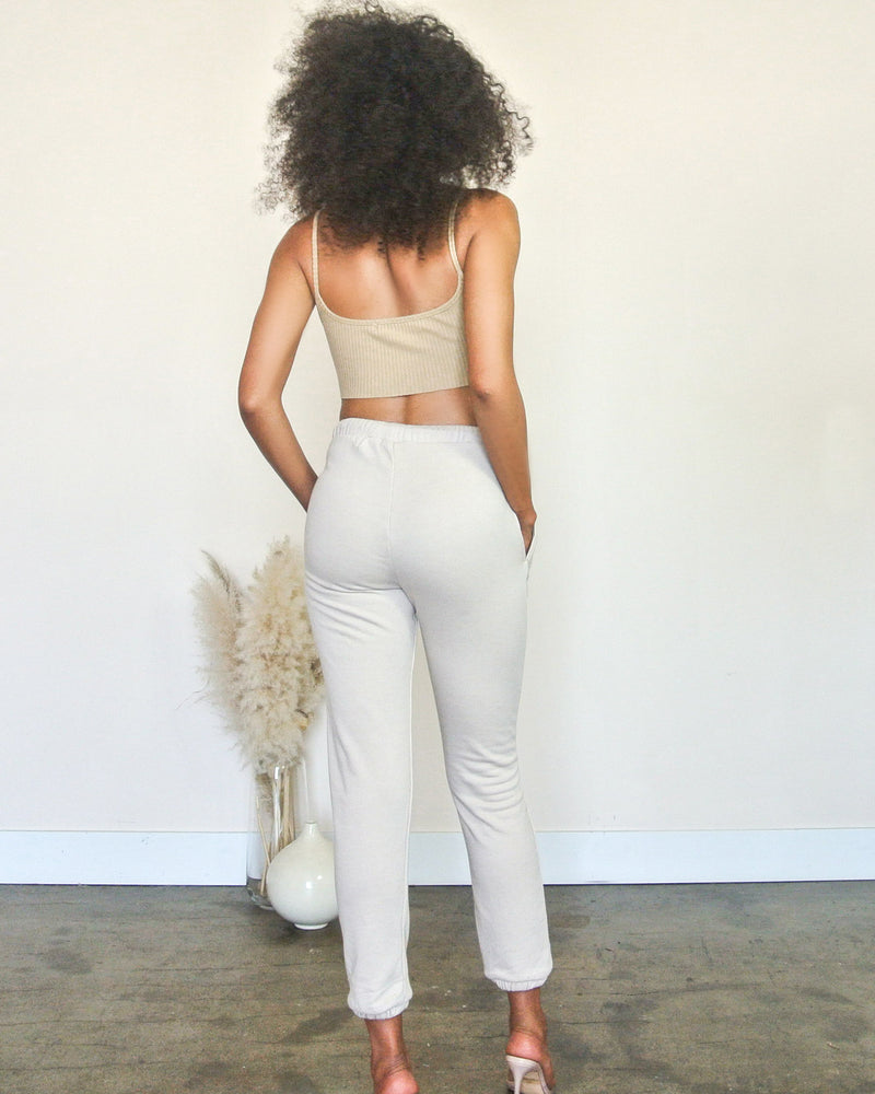 Nude High Waisted Sweat Pant Set
