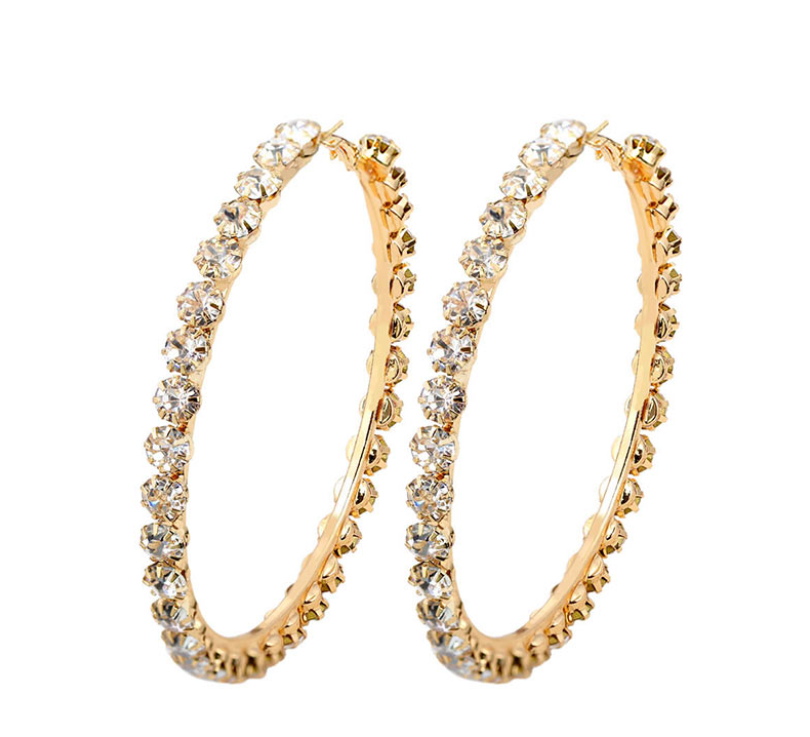 Rhinestone Hoop Geometric Earrings