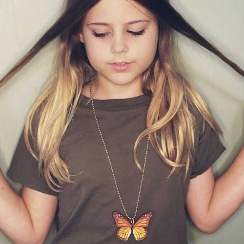 Gunner & Lux Monarch Butterfly Necklace, Brown Shirt