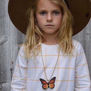 Gunner & Lux Monarch Butterfly Necklace, Wide Brimmed Hat