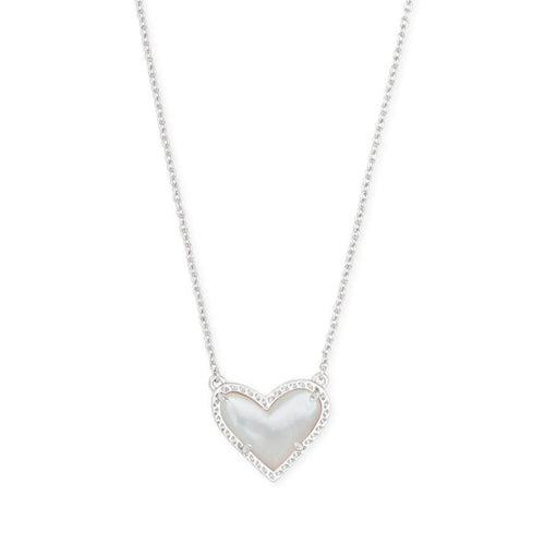 Kendra Scott Ari Necklace Silver in Mother of Pearl