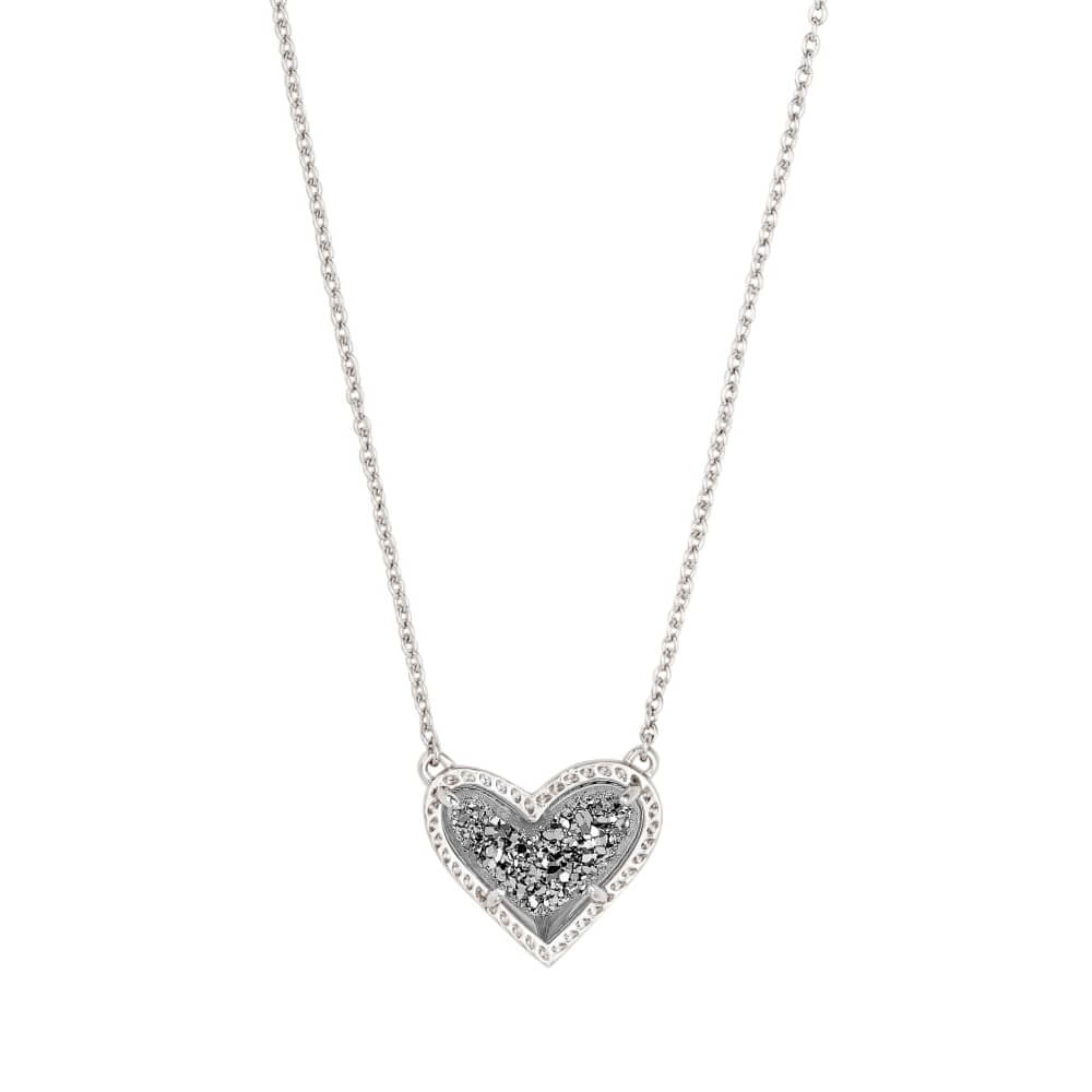 Kendra Scott Ari Necklace Silver in Platinum Drusy