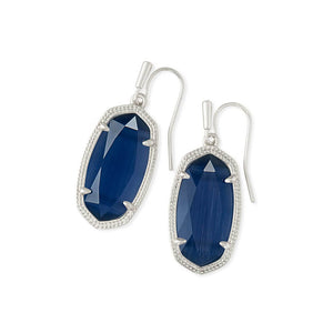 Kendra Scott Drop Earrings Silver in Navy Cat's Eye