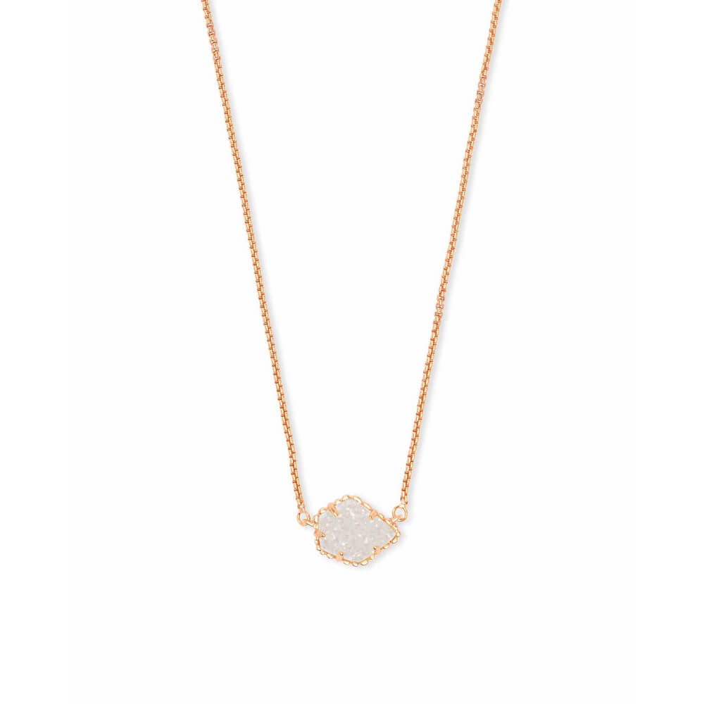Kendra Scott Tess Pendant Necklace Rose Gold with Iridescent Drusy
