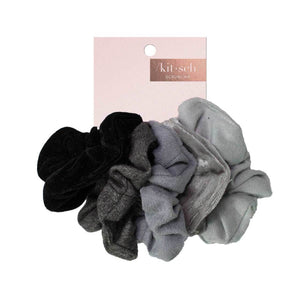 Kitsch Velvet Scrunchies Black/Gray, On Card