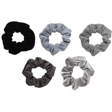 Load image into Gallery viewer, Kitsch Velvet Scrunchies Black/Gray, Individual