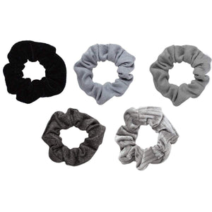 Kitsch Velvet Scrunchies Black/Gray, Individual