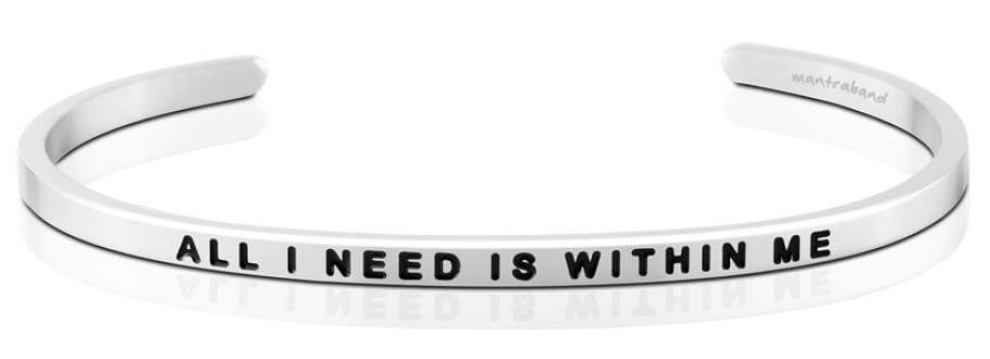 Mantraband All I Need Is Within Me, Silver
