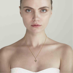 Tai Jewelry Opal Starburst Necklace Gold On Model
