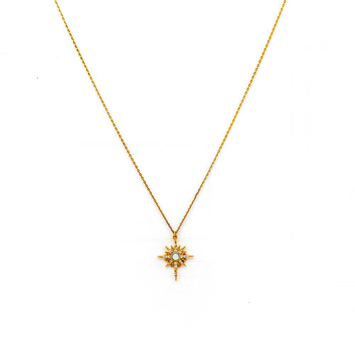 Tai Jewelry Opal Starburst Necklace Gold