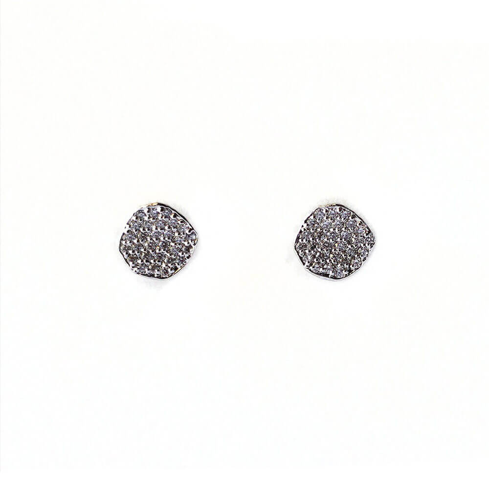 Tai Jewelry Organic Pave Disc Earrings Silver