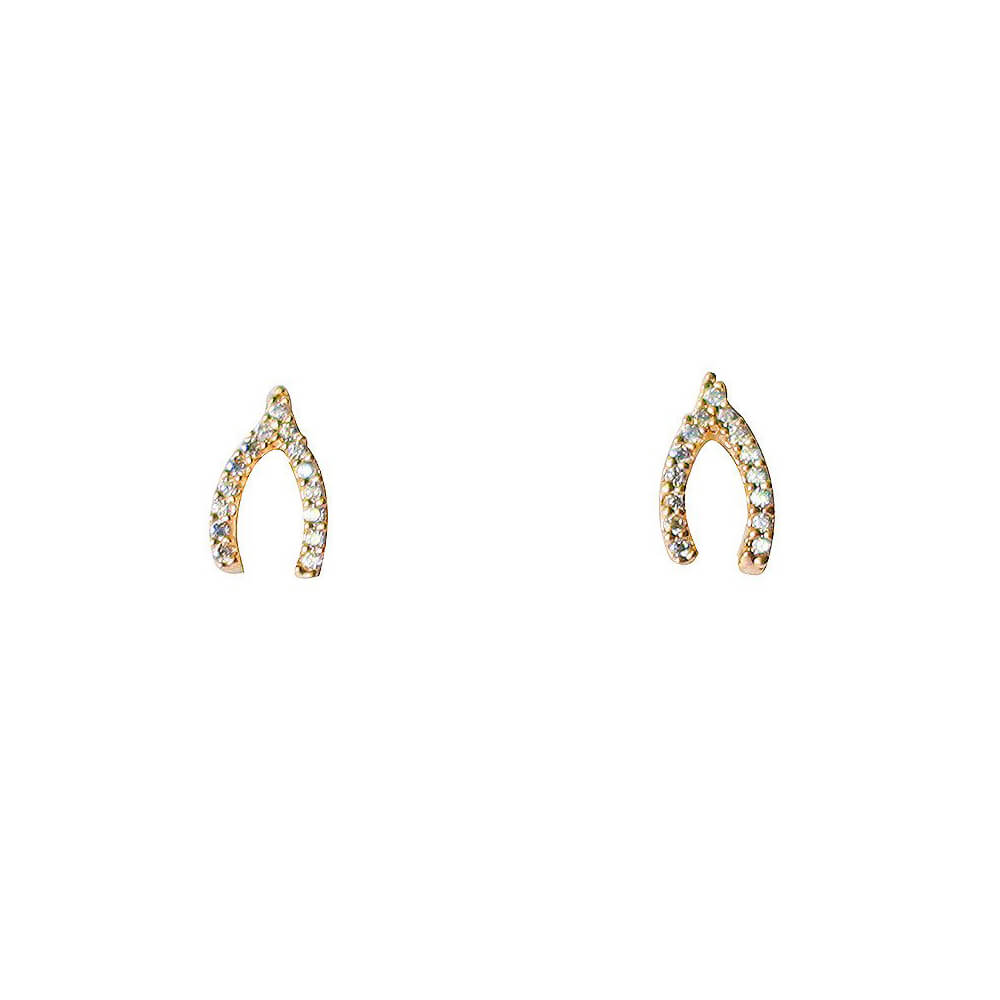 Tai Jewelry Wishbone Earrings Gold