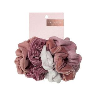 Kitsch Velvet Scrunchies Blush/Mauve, On Card