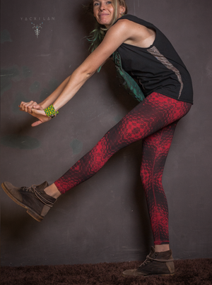Leggings Woman / Lycra Cotton Printed Red _ HEX