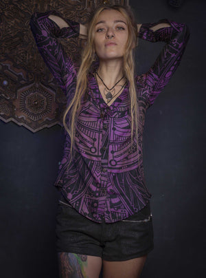 Shirt Woman Long Sleeves / Handwoven Silk  _ Violet POPPYFIELDS