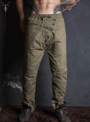 Long Pants Men NeoTokyo / Cotton Printed Sand_ SPACE INVADERS
