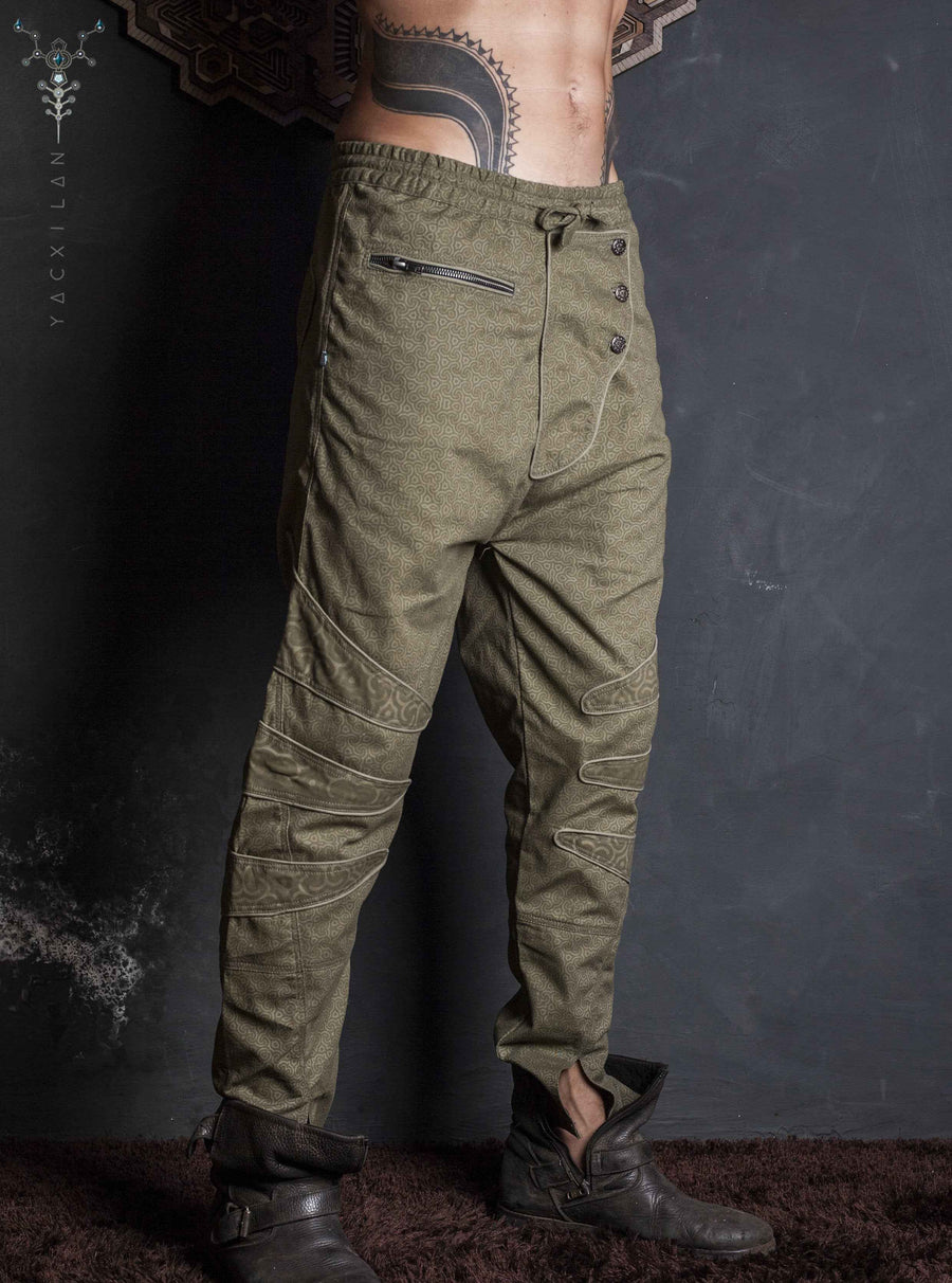 Long Pants Men NeoTokyo / Cotton Printed Sand_ SPACE INVADERS - Yacxilan Artwear