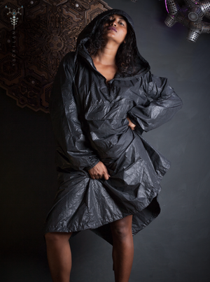 Rain Coat Woman / Simple Plain _ SNAKE BLACK